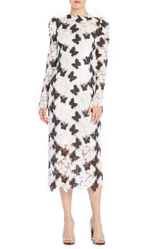 Monique Lhuillier Lace Butterfly Dress