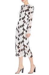 Black and white long sleeve sheath dress