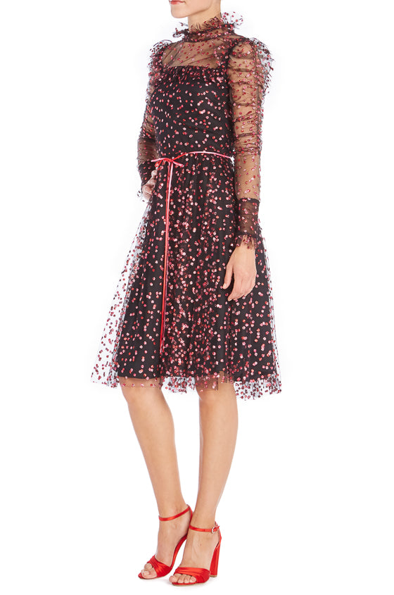 Long sleeve glitter cocktail dress Monique Lhuillier