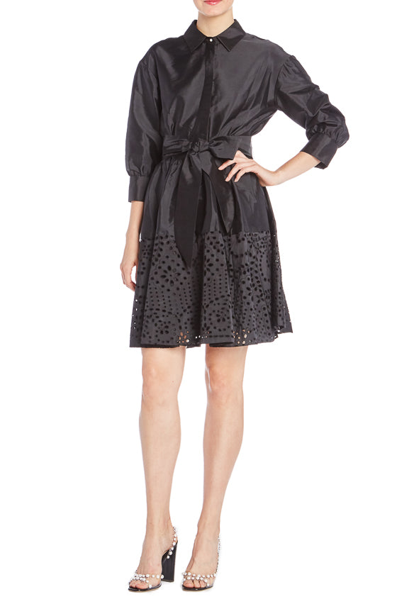 Black Monique Lhuillier Button Up Dress