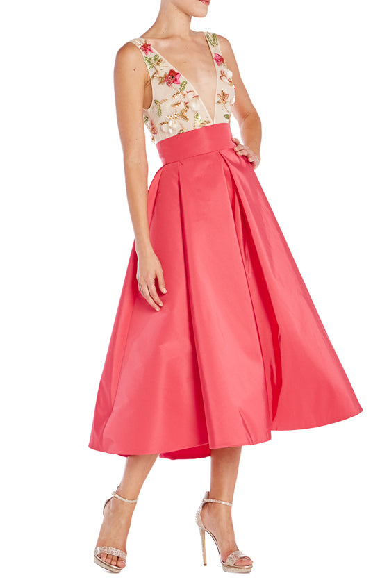 Pleated Skirt with floral embroidered bodice ML S19