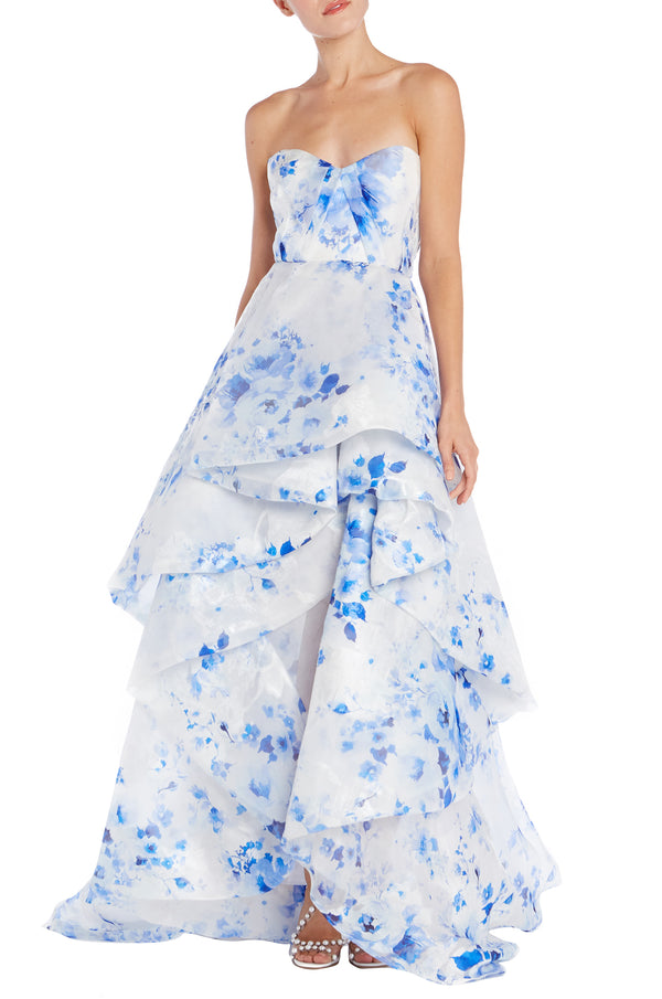 Printed Organza Strapless Ball Gown-FINAL SALE