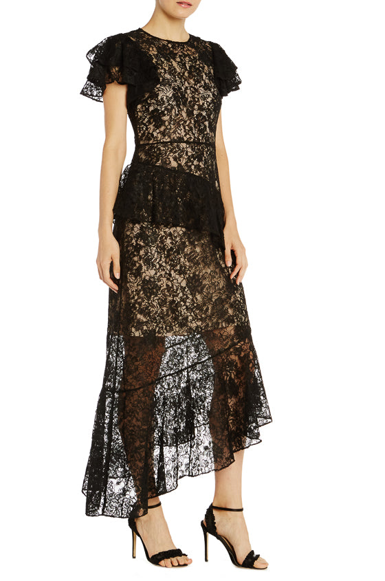 ML Monique Lhuillier Lace Asymmetrical Dress