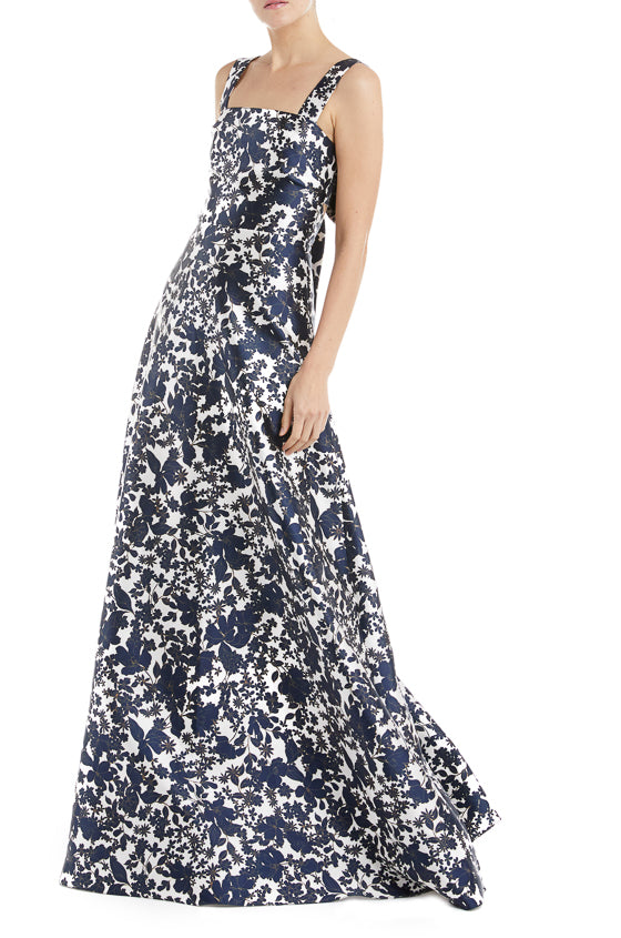 43b1f33226e9 ML Monique Lhuillier Printed Mikado Gown – moniquelhuillier