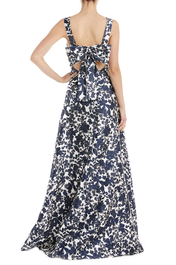 Floral Navy Gown ML Monique Lhuillier
