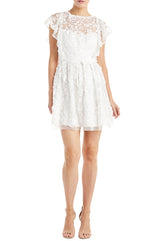 white lace cocktail dress ML Monique Lhuillier
