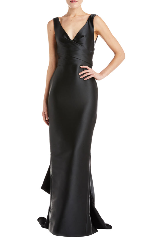 V-Neck Draped Column Gown