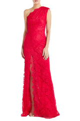 Red Lace Evening Gown
