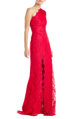 Red Lace One Shoulder Gown
