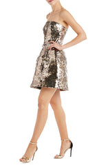 Monique Lhuillier Sequin Dress Strapless