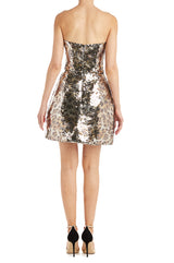 Gold Strapless Dress Sequins