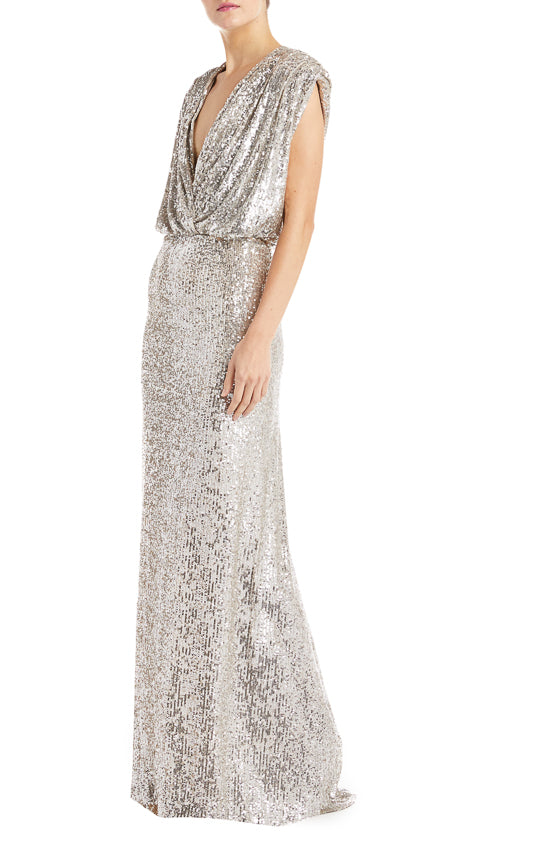 V neck gown Monique Lhuillier sequin