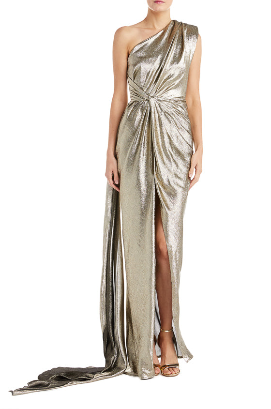 Gold Draped Monique Lhuillier RTW Gown Fall 2019