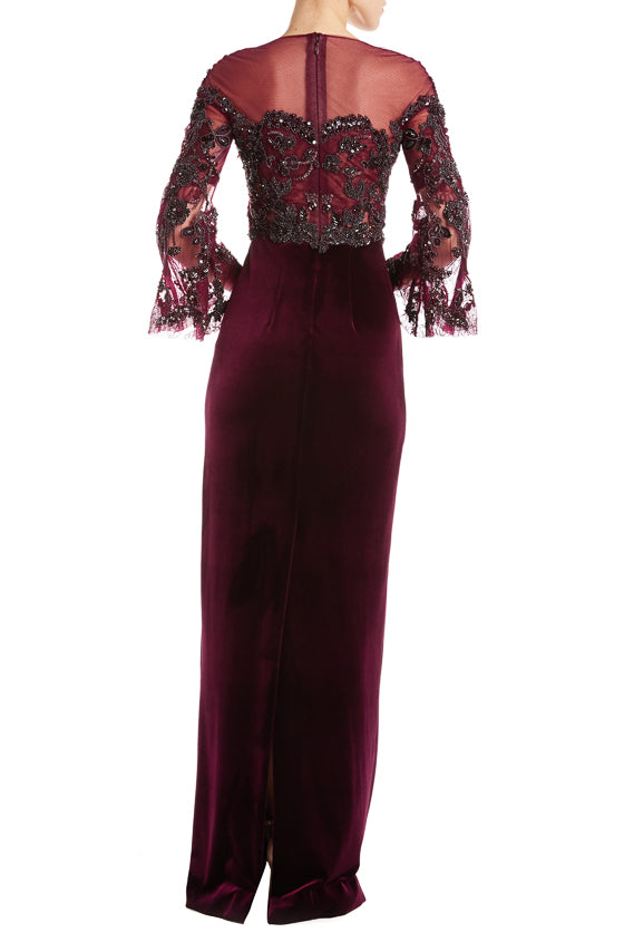 Bordeaux Velvet Gown Fall 2019