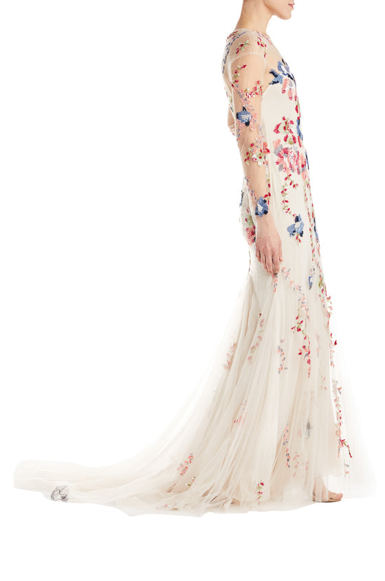 Long Sleeve Beaded Gown