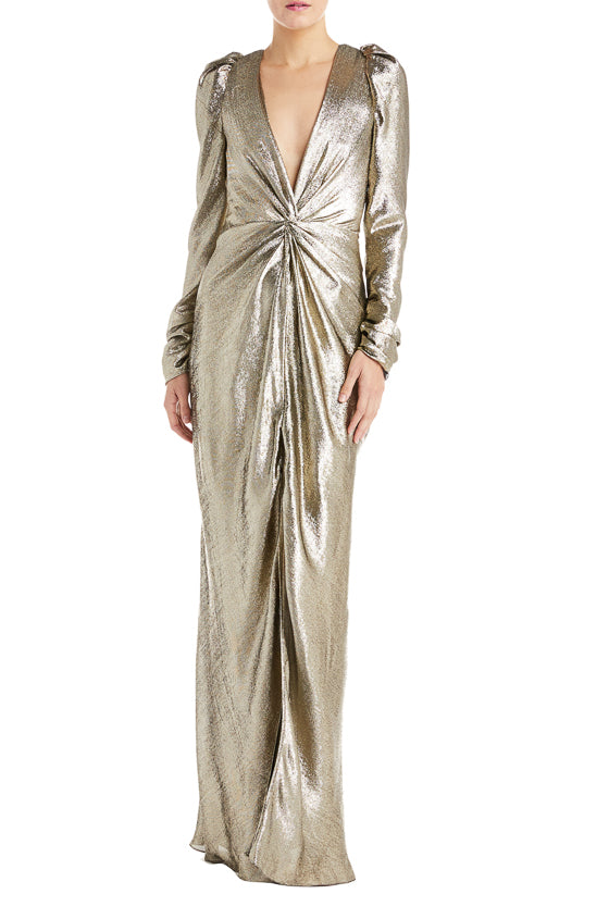 Long Sleeve Gold Gown- FINAL SALE