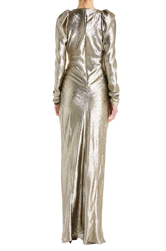 Shiny gold gown with front slit