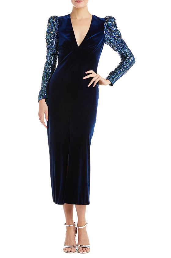 Monique Lhuillier Velvet Dress Navy