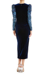 Velvet v-neck with beaded sleeves