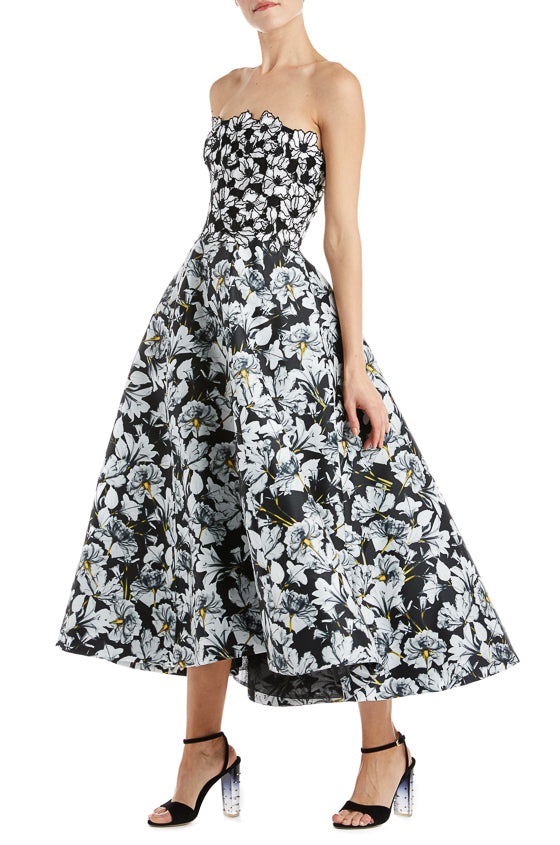 Floral Strapless Tea Length Dress