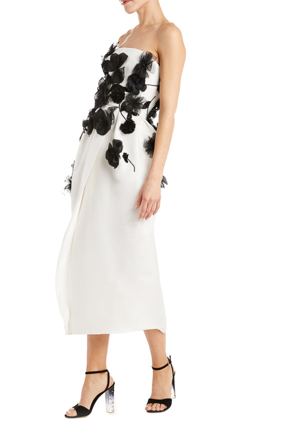 Black and white floral dress Monique Lhuillier
