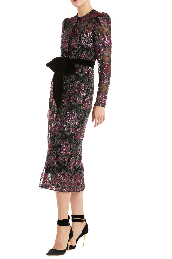 Monique Lhuillier Floral Sequin Coat