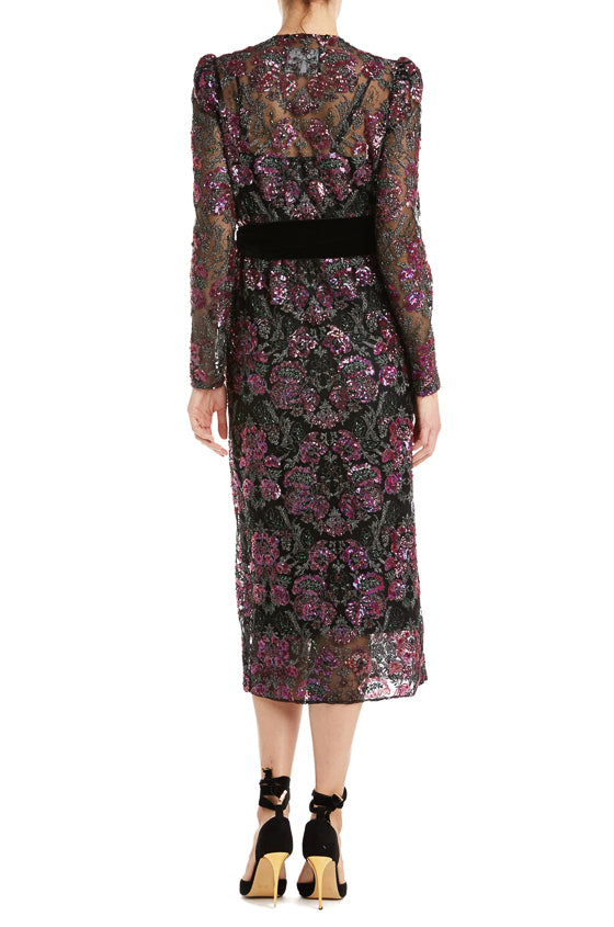 Floral Sequin Coat Dress with belt