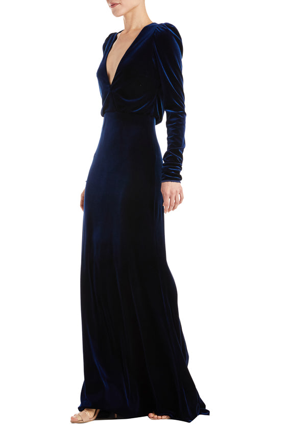 Monique Lhuillier velvet evening gown