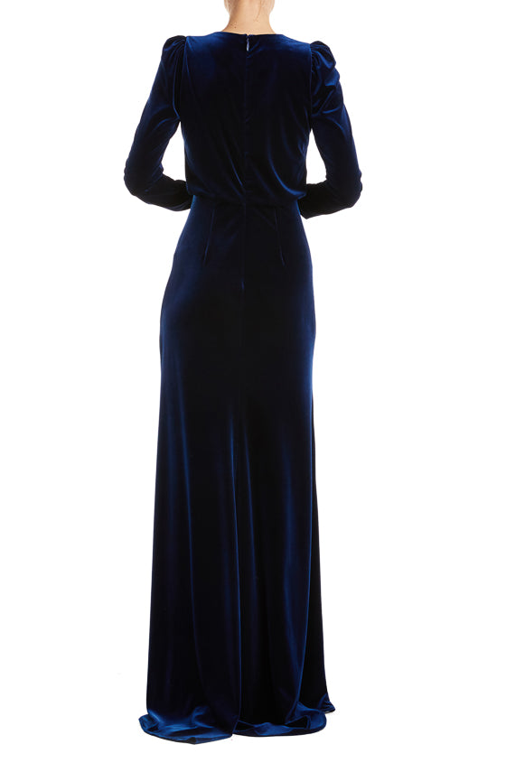 Long sleeve velvet gown