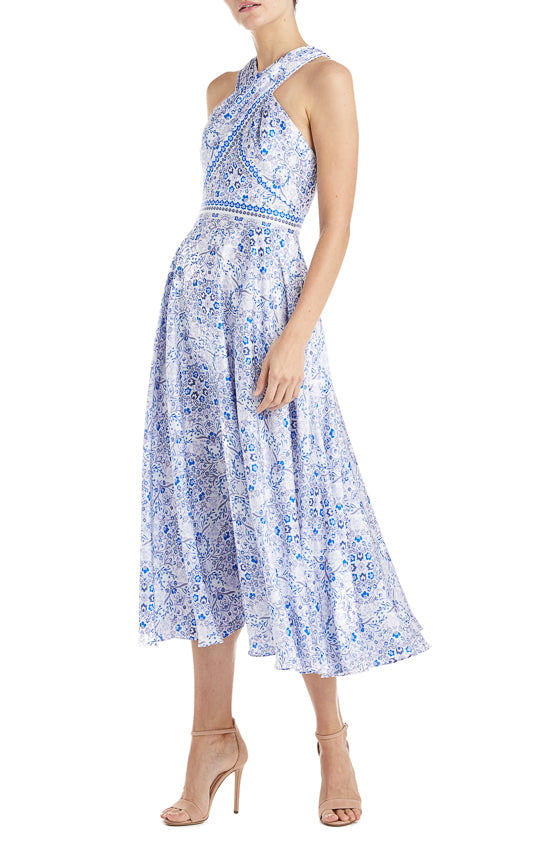 Floral ML Monique Lhuillier Blue Dress