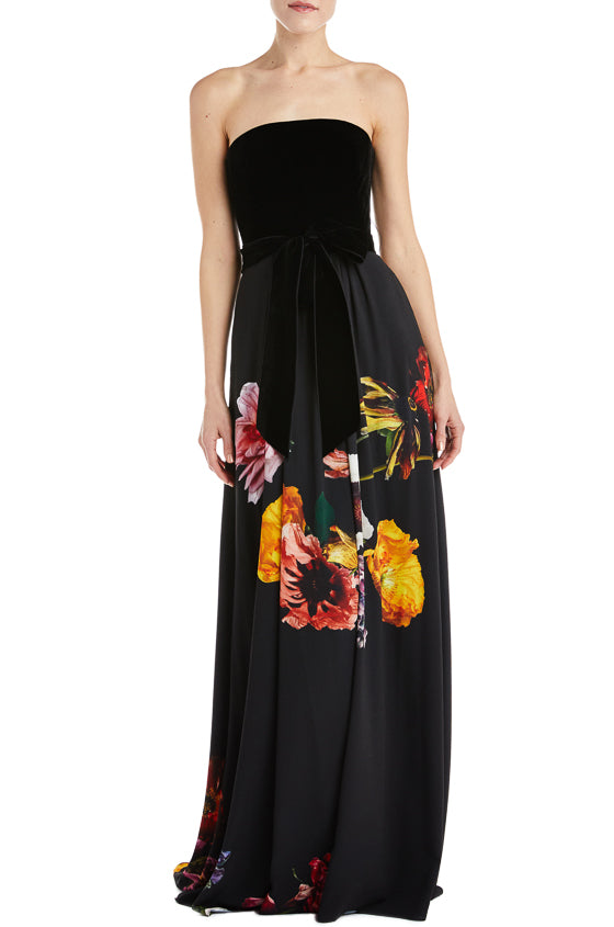 Strapless floral print gown Fall 2019