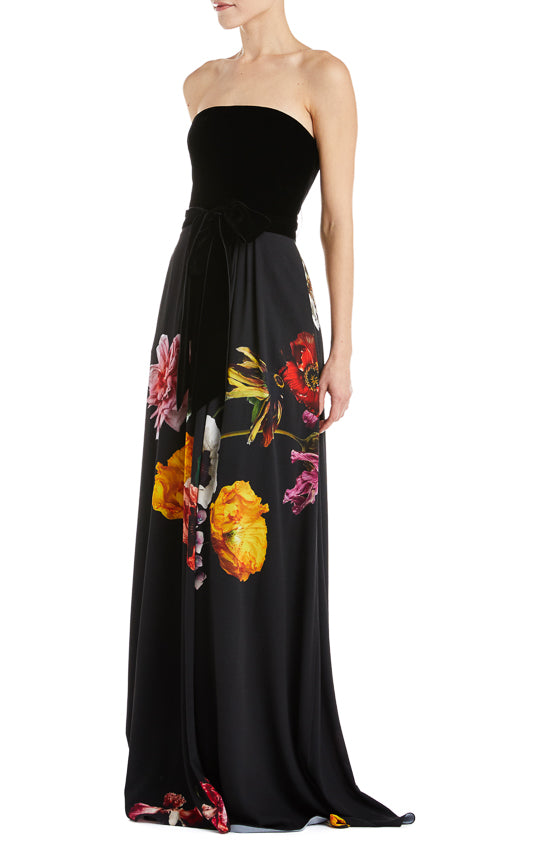 Velvet and floral evening gown