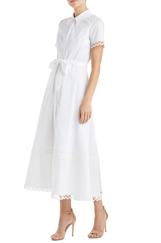 White Button Down Dress ML Monique Lhuillier