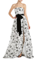 Floral Printed Strapless Gown Fall