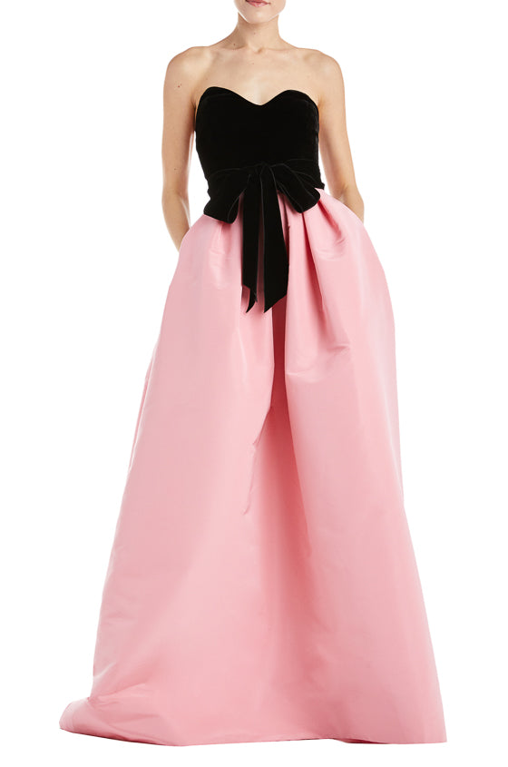 Black and pink strapless gown