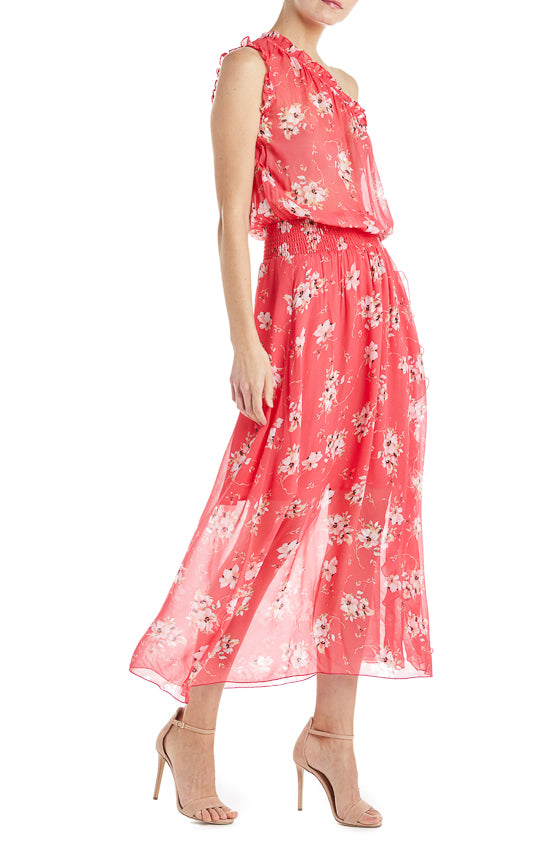 One shoulder coral sundress