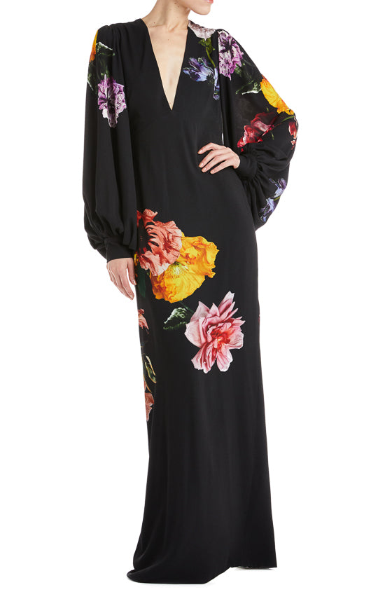 V-Neck Floral Evening Gown- FINAL SALE
