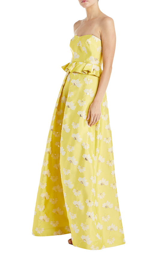 Printed Gown ML Monique Lhuillier yellow