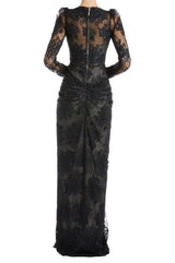 Black Lace Gown Monique Lhuillier