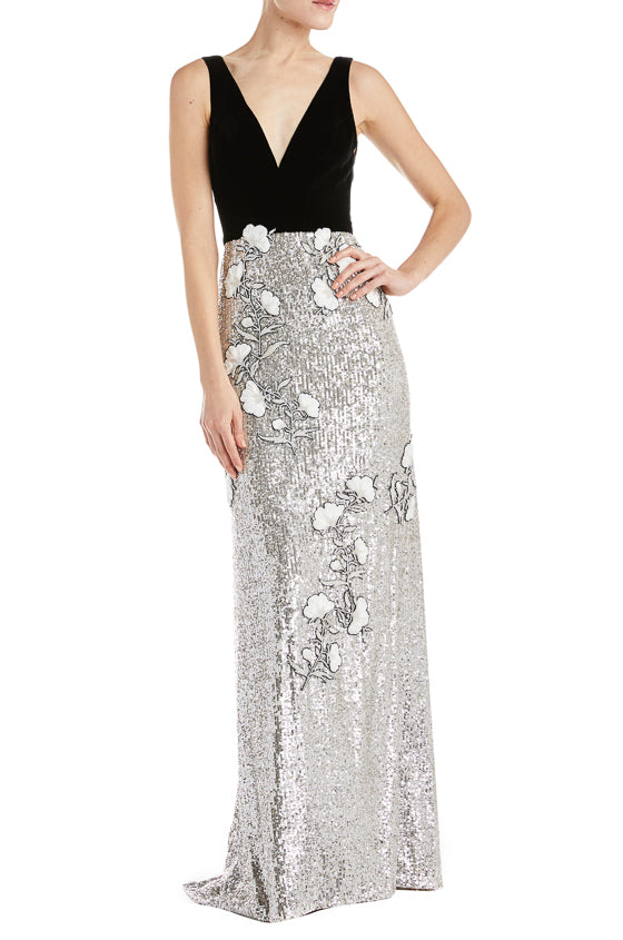 Velvet and sequin evening gown