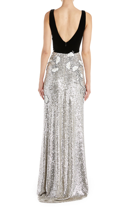 Sequin Gown with velvet bodice
