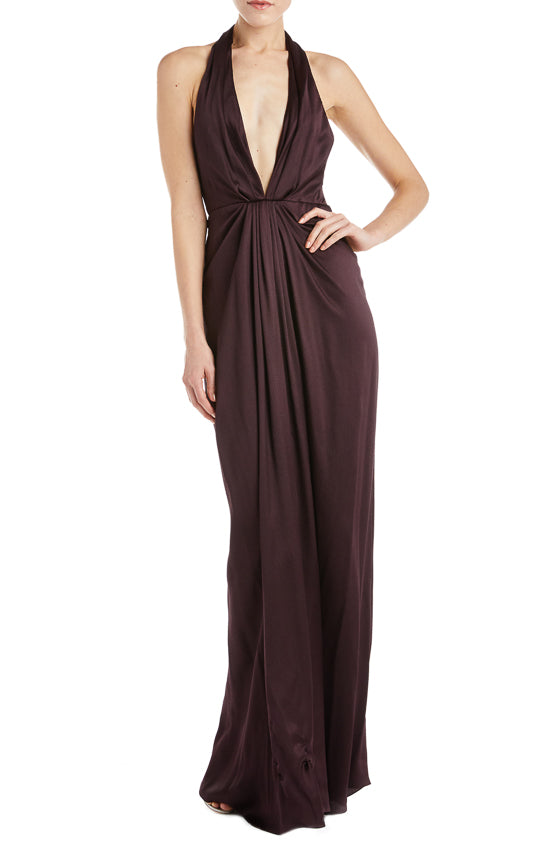 V-neck halter gown