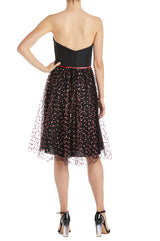 Monique Lhuillier Black Cocktail Dress with Glitter Skirt