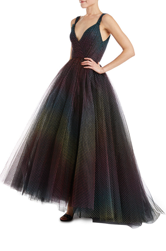 Monique Lhuillier black evening gown