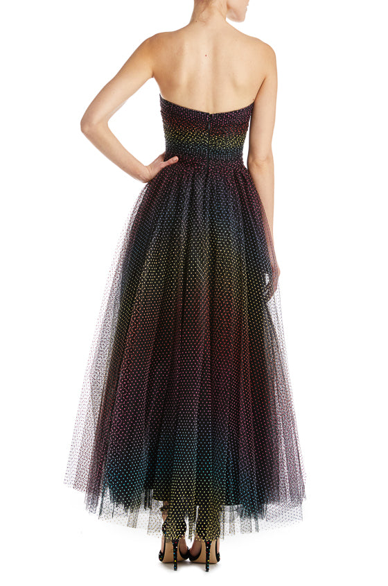 Strapless Tea Length Gown