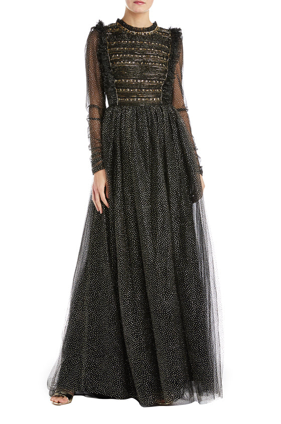 Long sleeve black tulle gown