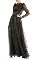 Monique Lhuillier Gown black and gold fabric