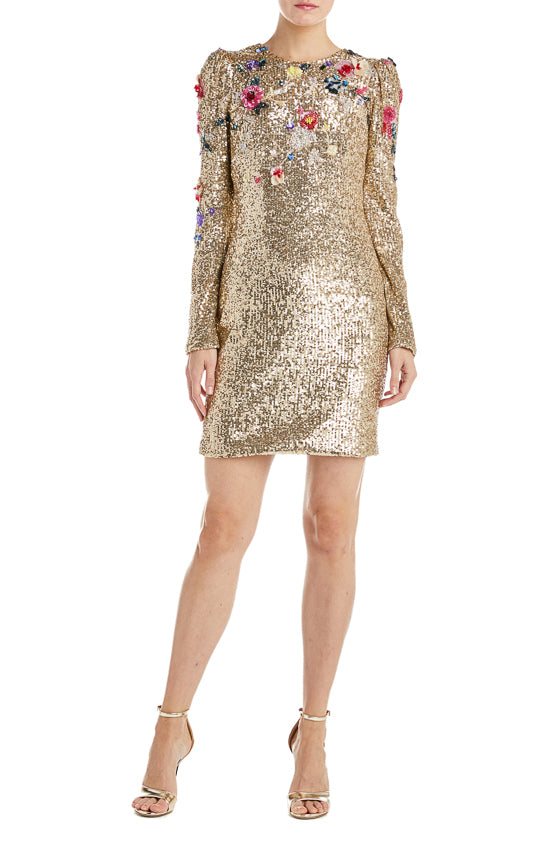 Embroidered Gold Mini Dress