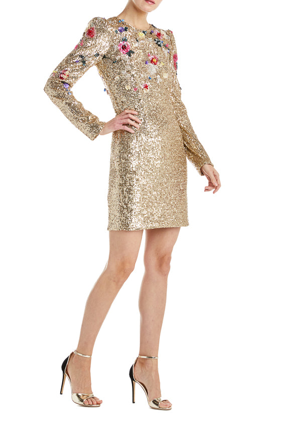Monique Lhuillier Gold Dress Floral