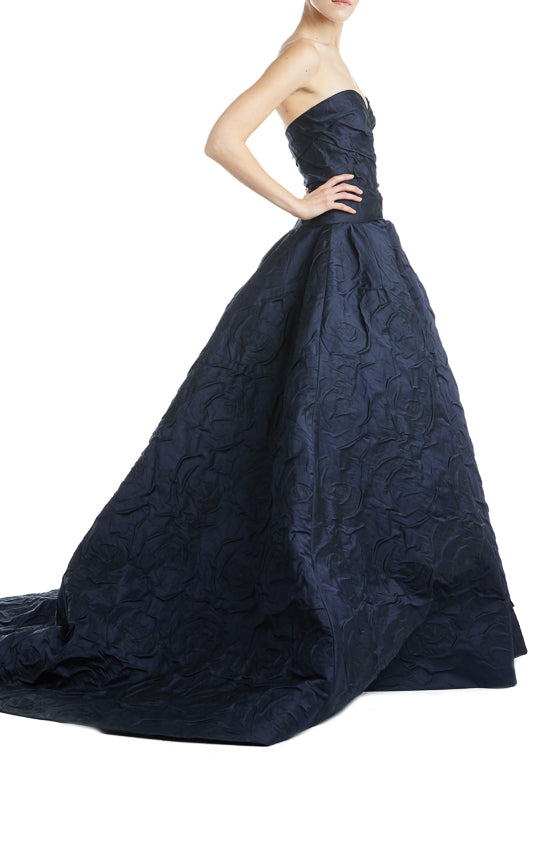 Navy RTW Gown Fall 2019 Monique Lhuillier